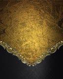 Abstrakt guld- bakgrund med en svart botten Beståndsdel för design Mall för design kopieringsutrymme för annonsbroschyr eller med Royaltyfri Fotografi
