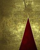 Abstrakt guld- bakgrund med röda mellanlägg Beståndsdel för design Mall för design kopiera utrymme för annonsbroschyr eller medde Royaltyfri Foto