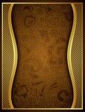 Abstrakt guld- blom- rambakgrund Royaltyfri Fotografi
