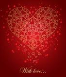 abstrakt guld- hjärta stock illustrationer
