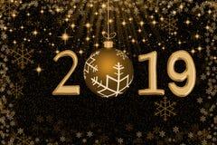 Abstrakt guld- jul klumpa ihop sig med numret 2019 mot stjärnor, Royaltyfri Foto