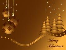 Abstrakt guld- julstruntsakbakgrund Royaltyfria Bilder