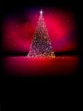 Abstrakt guld- julträd på rött. EPS 10 Royaltyfri Fotografi