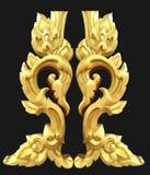 Abstrakt guld- lai-Thailändsk isolerad konst på black royaltyfria foton