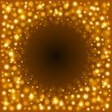 Abstrakt guld- ljus illustration för Bokeh bakgrundsvektor Arkivfoto
