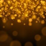 Abstrakt guld- ljus illustration för Bokeh bakgrundsvektor Arkivbild