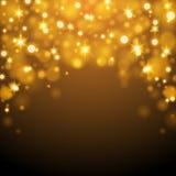 Abstrakt guld- ljus illustration för Bokeh bakgrundsvektor Arkivbilder