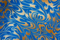 Abstrakt guld och blå blom- sömlös textur Fotografering för Bildbyråer