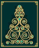 Abstrakt guld- stiliserat julträd mot grön bakgrund Royaltyfria Foton