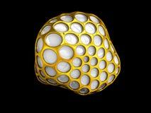 Abstrakt guld- wireframesfär Isolerad svart illustration 3d Arkivbilder