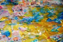 Abstrakt guldblåttbakgrund, vaxartad abstrakt bakgrund, livlig bakgrund för vattenfärg, textur Royaltyfri Foto