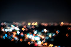 Abstrakt gwiazdy kształta bokeh tło Kuala Lumpur Zdjęcia Stock