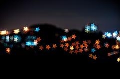 Abstrakt gwiazdy kształta bokeh tło Kuala Lumpur Obraz Royalty Free