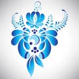 Abstrakt härlig blå blom- beståndsdel i rysk gzhelstil för din design Royaltyfria Bilder