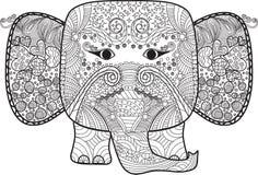 Abstrakt härlig elefant med klotter för färgläggningbok , vuxen människa och ungar Royaltyfri Foto