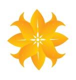 Abstrakt härlig gul blommalogo Arkivbild