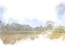 Abstrakt härligt fältlandskap på färgrik vattenfärgmålningbakgrund stock illustrationer