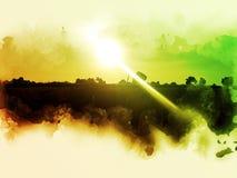 Abstrakt härligt fältlandskap på färgrik vattenfärgmålningbakgrund vektor illustrationer