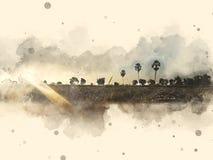 Abstrakt härligt fältlandskap på färgrik vattenfärgmålningbakgrund royaltyfri illustrationer