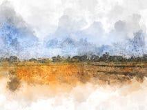 Abstrakt härligt träd och fält på färgrik vattenfärgmålningbakgrund royaltyfri illustrationer
