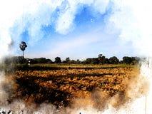 Abstrakt härligt träd och fält på färgrik vattenfärgmålningbakgrund stock illustrationer