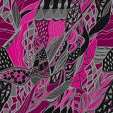 Abstrakt hand dragen sammansättning med traditionellt dekorativt Rosa färg- och grå färgfärger Arkivbilder