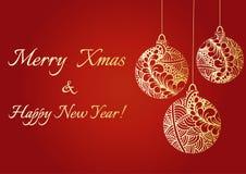 Abstrakt hand drog guld- skinande julbollar Text för glad jul och för lyckligt nytt år Klottermodell Jul som hälsar v stock illustrationer