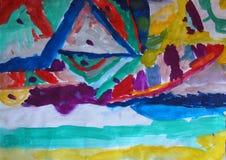 Abstrakt handgjord vattenfärgillustration av färgrik bakgrund med suddiga ljusa linjer Buktade linjer, trianglar, prickar royaltyfri foto
