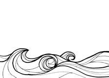 Abstrakt hav i linjen svartvit bakgrund för konst royaltyfri illustrationer