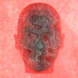 abstrakt head human Betongskivor med lång skugga från 3d head Minimalistic design framförande 3d royaltyfri illustrationer