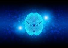 Abstrakt hjärnteknologi med nätverksanslutning illustration Royaltyfri Foto