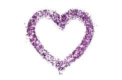 Abstrakt hjärta av lilor blänker gnistrandet på vit Royaltyfri Bild