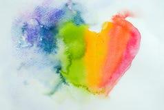Abstrakt hjärta, dragen vattenfärghand Arkivfoto