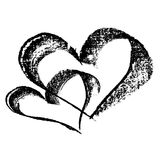 Abstrakt hjärta som dras i färgpulver av handen vektor illustrationer