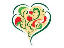 abstrakt hjärtagrönsaker Arkivfoto