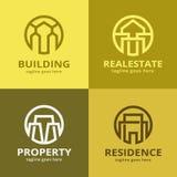 Abstrakt hus Logo Template Design Vector Vektor Illustrationer