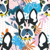 Abstrakt huvud för papercutcollagehund Arkivbilder