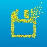 Abstrakt idérik begreppssymbol av disketten för rengöringsduk och mobilen app som isoleras på bakgrund Design för konstillustrati Fotografering för Bildbyråer