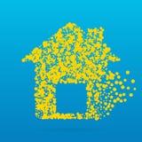 Abstrakt idérik begreppssymbol av huset för rengöringsduk och mobilen app som isoleras på bakgrund Design för konstillustrationma Royaltyfri Foto