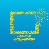 Abstrakt idérik begreppsvektorsymbol av bildskärmen för rengöringsduk och mobilen app som isoleras på bakgrund Konstillustration Royaltyfri Bild