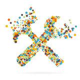 Abstrakt idérik begreppsvektorsymbol av hjälpmedel för rengöringsduk- och mobilapplikationer som isoleras på bakgrund Konstillust Arkivfoton