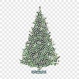 Abstrakt idérik begreppsvektorsymbol av julträdet för rengöringsduk och mobilen app som isoleras på bakgrund Konstillustration Arkivfoto