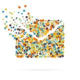 Abstrakt idérik begreppsvektorsymbol av kuvertet för rengöringsduk- och mobilapplikationer som isoleras på vit bakgrund konst Royaltyfri Foto