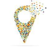 Abstrakt idérik begreppsvektorsymbol av pekaren för rengöringsduk- och mobilapplikationer som isoleras på vit bakgrund Fotografering för Bildbyråer