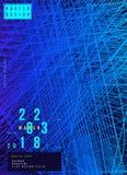 Abstrakt idérik designaffisch för idérik händelse med blå bakgrund Futuristisk räkning för mall Plan vektorillustration EPS 1 Arkivbilder