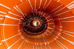 Abstrakt idérik tunnelvision från packar av vridna orange slangar Arkivbild