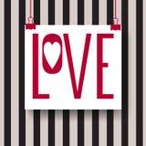 Abstrakt idérik vektordesignorientering med bokstäver - förälskelse Handskriven kalligrafiaffisch Fotografering för Bildbyråer