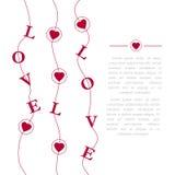 Abstrakt idérik vektordesignorientering med bokstäver - förälskelse Romantiskt kort på valentindag Modern begreppsbakgrund Royaltyfri Bild