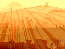 Abstrakt illustration av byn i solnedgångstrålar. Royaltyfria Bilder