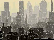 Abstrakt illustration av den stora snöig staden. Arkivfoton